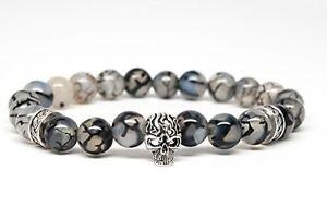 Agate-Stone-Beaded-Mens-Bracelet-with-Skull-DT113