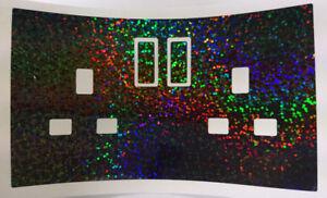 Chrome Checker Plate Effect UK Plug Socket Stickers Kids Bedroom Living Room