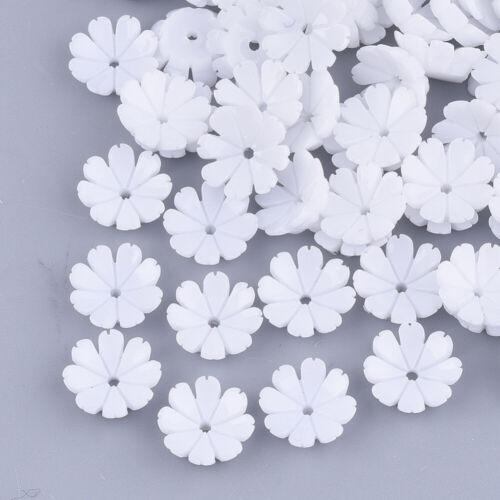 2979 50 abalorios resina 10x10mm perlas tapas spacer flor floración cáliz resina blanco