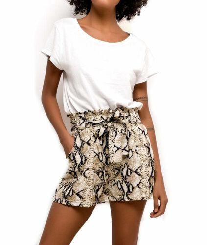 Damen High Waist Shorts Schlangenleder Muster Bindegürtel kurze Hose tailliert