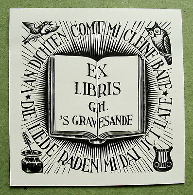 M.C. ESCHER 1940, bookplate  for 's Gravesande; orig. woodcut  (Bool/Locher 322)