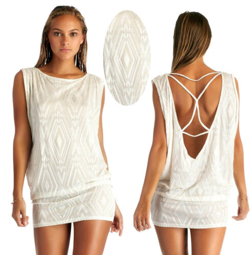 $159 Vitamin A White Diamond Metallic Crochet London Tee Swimsuit Cover Up Tunic