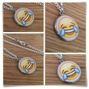 Emoji-face-Cry-tears-laughing-smile-LOL-silly-face-Charm-pendant-necklace-txt