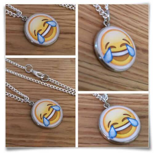 Emoji face Cry tears laughing smile LOL silly face Charm pendant necklace txt