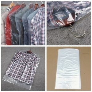 f3f8fe140ac9 Image is loading 10-50pc-Polythene-Clear-Garment-Suit-Cover-Plastic-