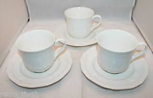 Details About New Set Of 3 Mikasa Ultima Plus Hk 400 Antique White Coffee Tea Mug Cups Saucers