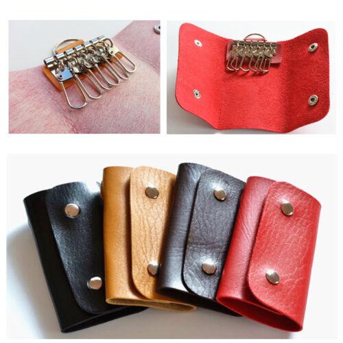 Mens Women Leather Key Wallet Case Holder Purse Organiser 6 Keyrings Unisex