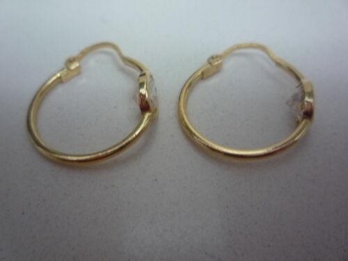NOUVEAU 18 carats 18k Boucles d/'OREILLE EN OR JAUNE DORMEUSES Hoop avec Blanc