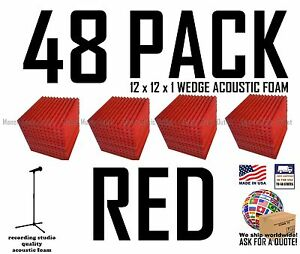 Acoustic Foam 48 pack Red Wedge Studio Soundproofing Tiles 12x12x1 inch