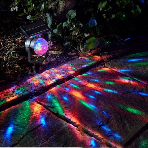 LED Solar Rotate Projector Lawn Lamp Waterproof Floor Spot Light Garden Yard