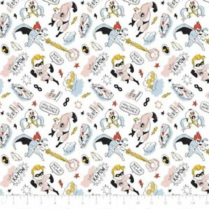Disney-The-Incredibles-Sketchy-White-Camelot-100-cotton-fabric-by-the-yard