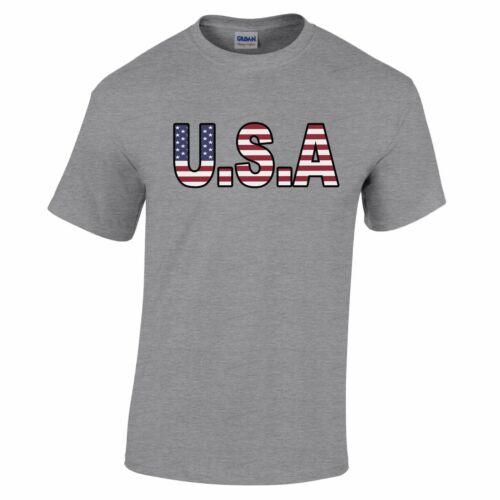 American T Shirt USA stylisé Drapeau texte étoiles rayures 4th Etats-Unis de juillet fier