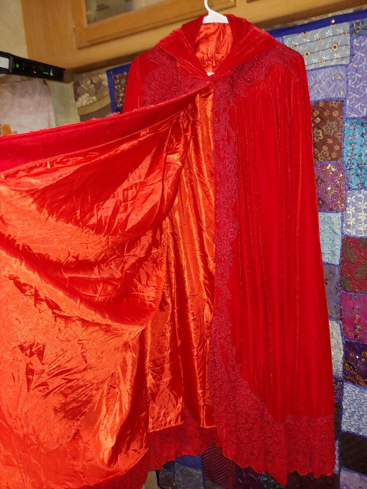 Red velvet Victorian cape with hood - image 3