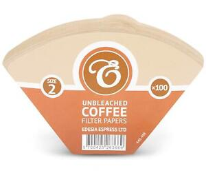 100 Size 2 / 2K Coffee Filter Paper Cones, Unbleached Brown Replacement
