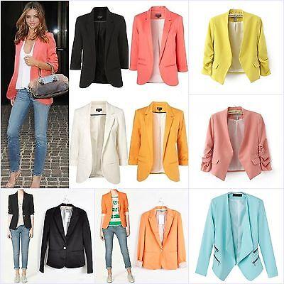 Lady Womens Fashion Soild Candy Colors Slim Fit Suit Jacket Blazer Coat Tops Lot