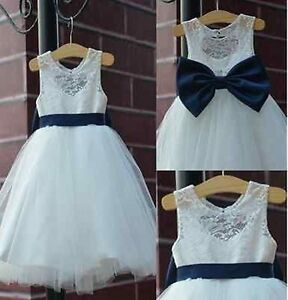 85120f636 Details about 2019 rustic Ivory Lace Navy blue sash/bow Flower Girl Dress  White Country Toddle