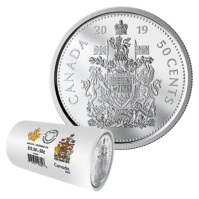 1-CANADA 2017 New 50 cents Coat of Arms of CANADA BU direct from mint roll..
