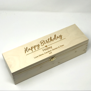 Personalised Birthday Gift For Him Dad Men Friend 40th 60th 70th Wooden Wine Box