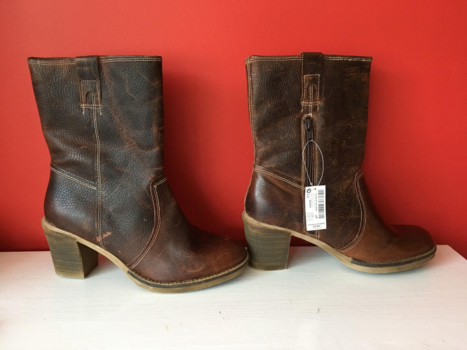 NEXT Braun Distressed Leder Casual Pull On Block Heel Casual Leder Stiefel UK 4 EU 37 BNWOB 817b1d