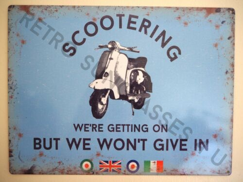 LAMBRETTA SCOOTER OWNER GARAGE TIN PLATE SIGN LARGE VESPA 400mm x 300mm GIFT