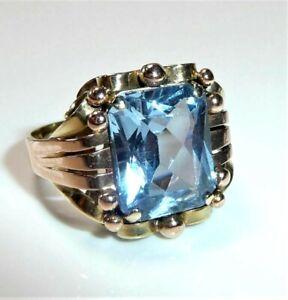 Ring 585 Gold -2.70 ct blauer Topas Gr:56 / 17,8 mm 5,6 Gramm-feine Handarbeit