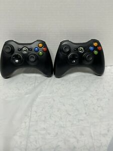 2 OEM Microsoft Xbox 360 Wireless Controllers Black Tested Working Authentic