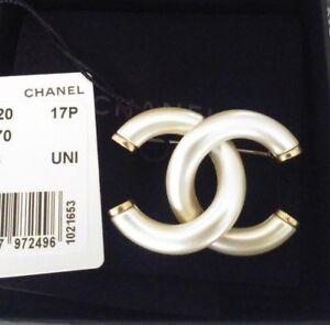 NWT Authentic CHANEL  17P CC Logo Pearl Brooch Pin w Box, Bag ... 01e0f81915b