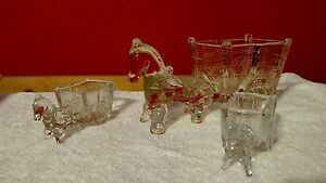 Vintage-Jeanette-Glass-Horse-Donkey-Buggy-Cart-Carriage-Candy-Trinket-Dish-Bowl