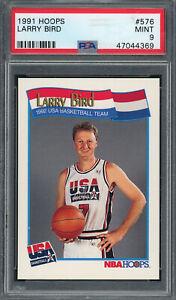 Larry Bird USA Basketball Team 1991 Hoops Basketball Card #576 Graded PSA 9 MINT