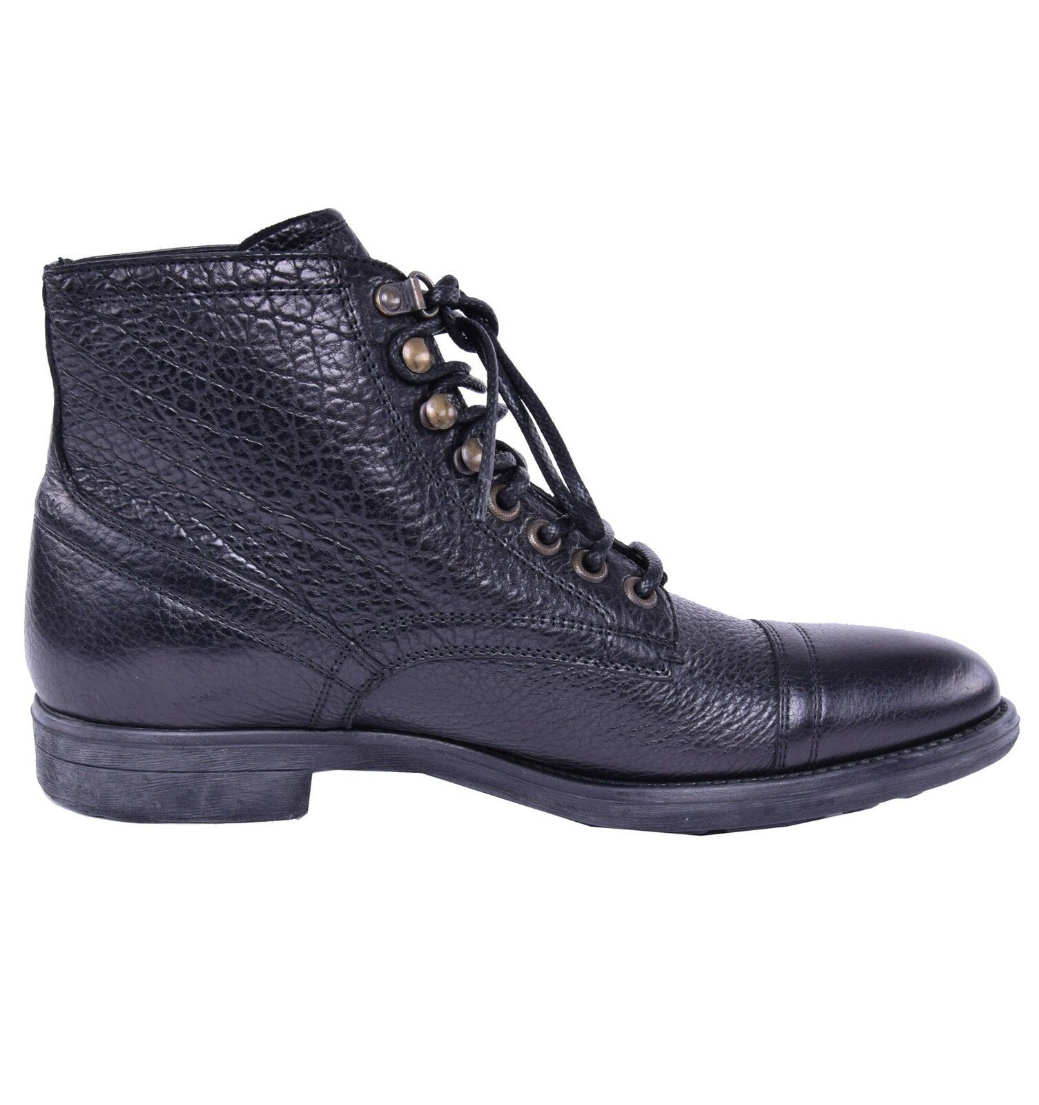 DOLCE & GABBANA Siracusa Bison Leather Boots Shoes Black 03834