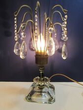Old Electric Waterfall Crystal Prisms Table Boudoir Lamp Unique