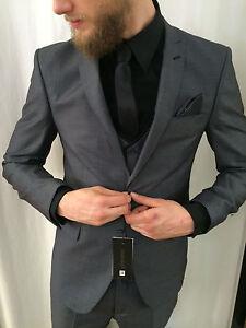 Details About Grau Designer Anzug Mit Weste Tailliert Slim Fit Im Set Passendem Hemd Krawatte