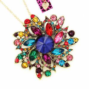 Betsey-Johnson-Crystal-Rhinestone-Big-Flower-Pendant-Chain-Necklace-Brooch-Pin