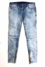 Balmain Women's Blue Distressed Biker Jeans 40 uk 12