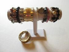 LOT of 12 vintage-modern stretch expansion bracelets metal hematite glass beads