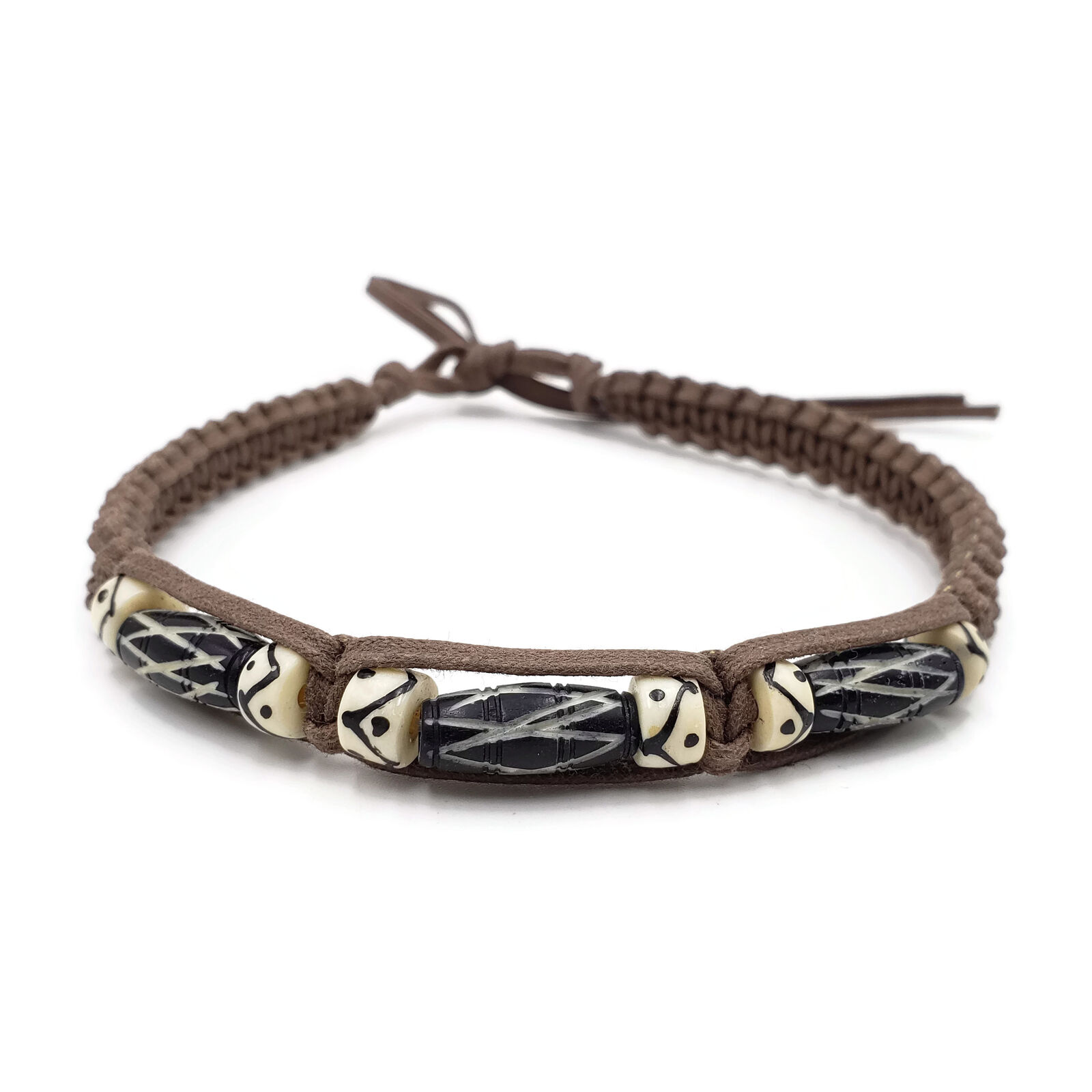 Buffalo Bone Choker Leather Binding Native American Jewelry Beads CK4461-WH