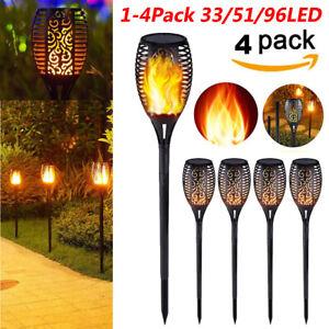 Confezione-da-1-4-LED-33-51-96-Impermeabile-Energia-Solare-Torcia-Luce-Tremolante-DANZANTI-FIAMMA