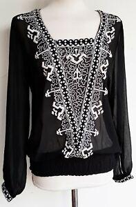 NEXT-Womens-Blouse-Top-Chiffon-Folk-Boho-Embroidered-Yoke-Loose-Women-35