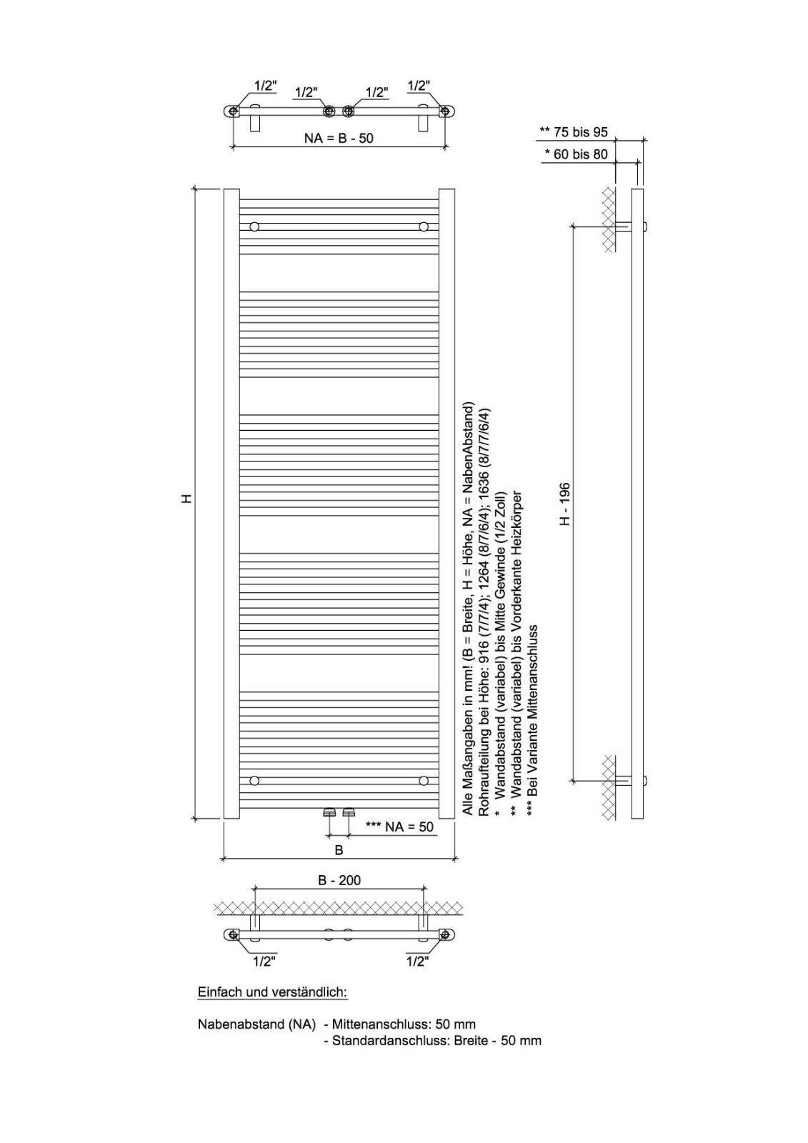 Ximax Design-Heizkörper Design-Heizkörper Design-Heizkörper Bad-Heizkörper Handtuchwärmer C1 375W  Mittenanschluss b04902