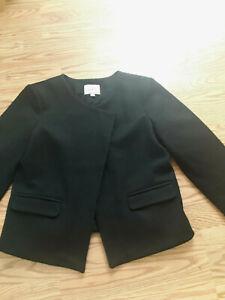 Loft Petites blazer jacket wool blend asymmetrical overlap closure Black 12P