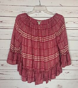 Lucky Brand Women's S Small Pink Ivory Ruffle 3/4 Sleeves Cute Spring Top Blouse