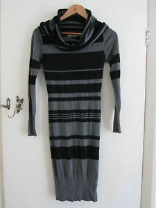 Part-Angora-Black-amp-Grey-Stripe-Long-Sleeve-Jumper-Dress-in-Size-8-by-Ringspun