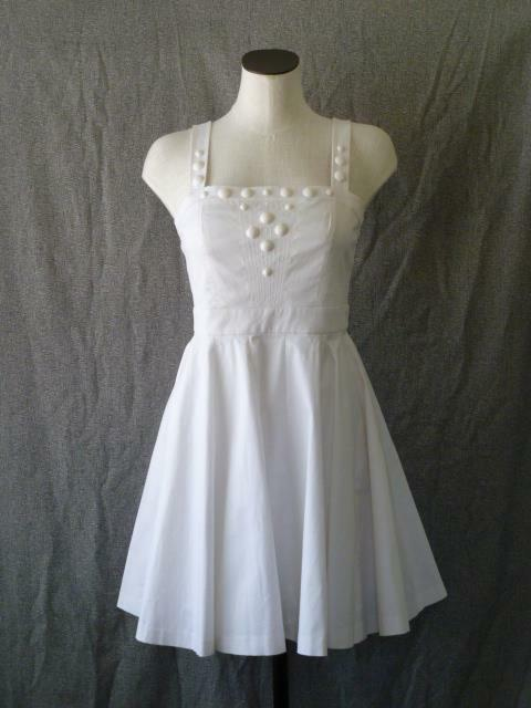 Armani Exchange White-on-White Embellished Flirty Fit & Flare Tea Sun Dress6S