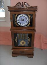 Vintage Cherry Wood Finish Hellerware Jewelry Box Grandfather Clock Design NICE