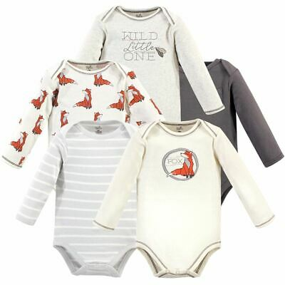 Touched By Nature Girl Organic Cotton Bodysuits Rosebud Long Sleeve 5-Pack