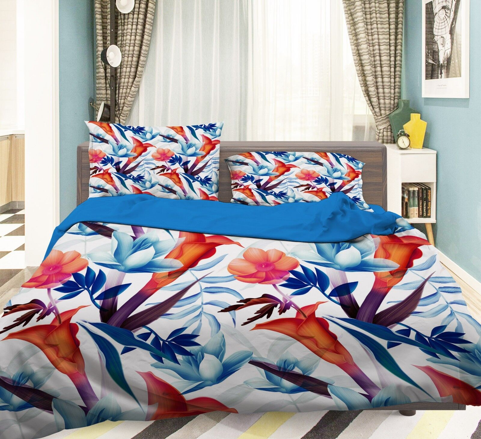 3D Flower Leaves 656 Bed Pillowcases Quilt Duvet Cover Set Single King UK Summer