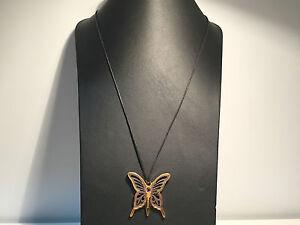 Nuevo-Collar-Necklace-REBECCA-Cordon-Negro-Colgante-Mariposa-Acero-Bronce