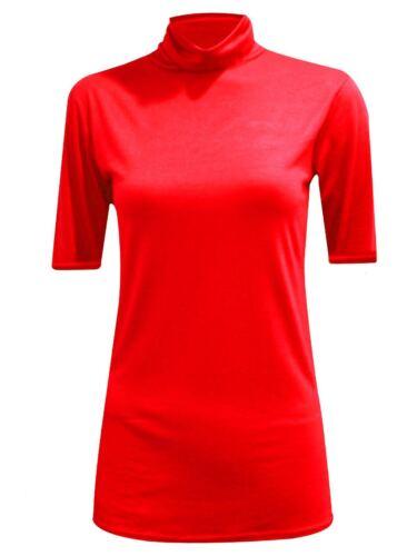New Womens Tshirt Ladies Top Polo Turtle Neck Short Sleeve Leotard Cotton Black