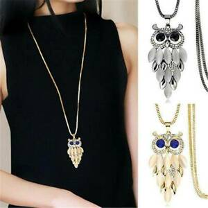 Women-Charm-Cute-Sapphire-Crystal-Owl-Pendant-Necklace-Long-Sweater-Chain-Gift