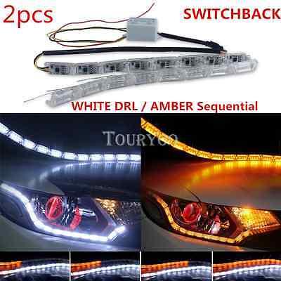 2x Sequential Switchback LED Strip Lights Headlight Retrofit For VW Volkswagen